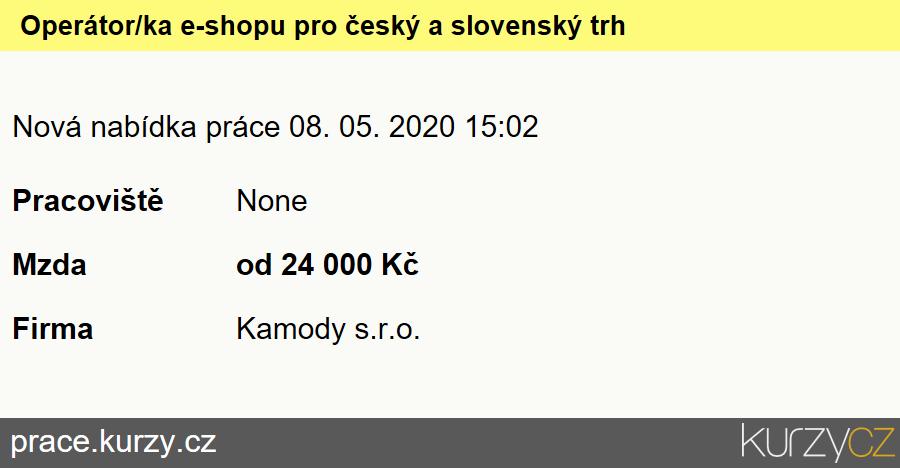 Operátor/ka e-shopu pro český a slovenský trh, Obchodní referenti